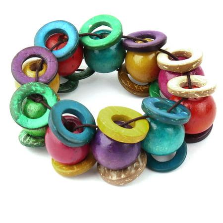 (Ladies Coconut Shell Round Beads Handmade Wristband Stretch Bracelet Multicolor)