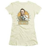 Trevco Tintin-Buddies Short Sleeve Junior Sheer Tee, Cream - XL