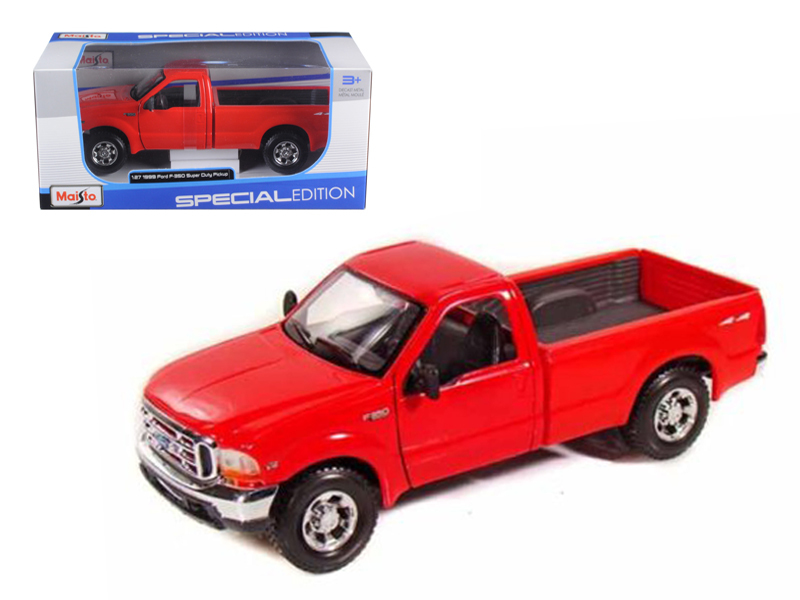 1999 Ford F-350 Super Duty Pickup Truck 4x4 Red 1 27 Diecast Model by Maisto by Maisto