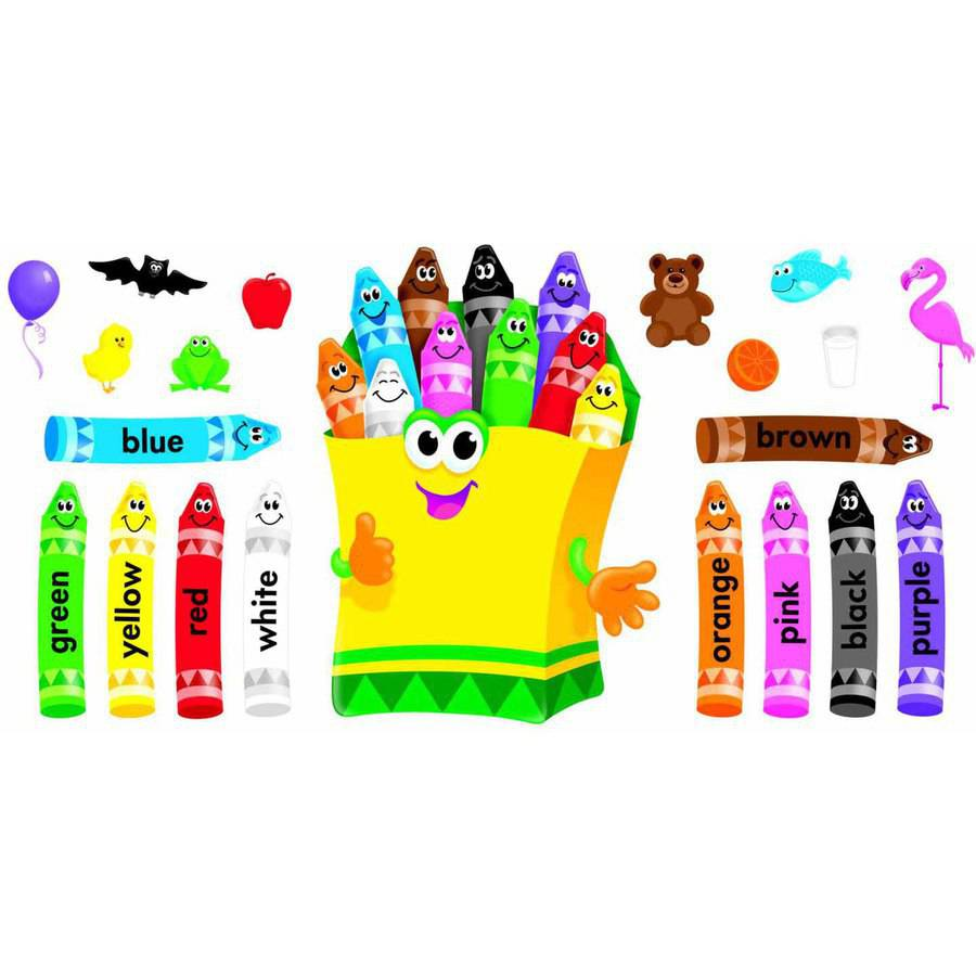 "Trend Enterprises Colorful Crayons Design Bulletin Board Set, 30"", Assorted Color, Set of 21"