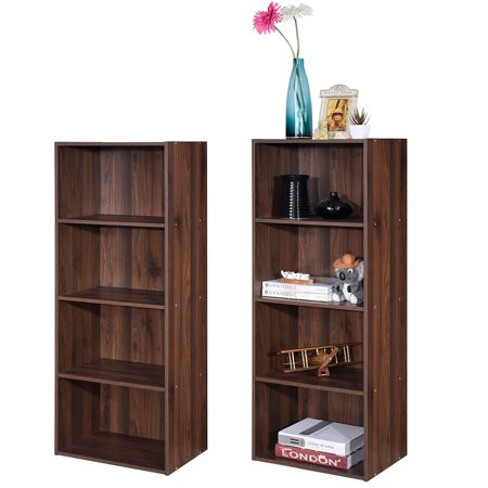 Costway 4 Tier Open Shelf Bookcase Multi-functional Storage Display Cabinet WhiteWalnut Display Cabinet 4 Tier