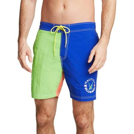 Nautica Mens Colorblock Above Knee Board Shorts Blue L