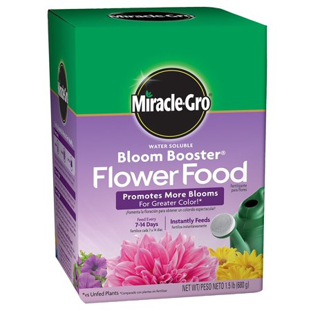 Miracle-Gro Water Soluble Bloom Booster Flower Food, Promotes more blooms for greater color versus unfed plants By