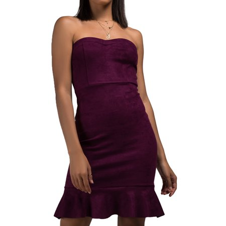 AKIRA Women's Faux Suede Strapless Sweetheart Bodice Trumpet Ruffle Flirty Hem Mini Dress
