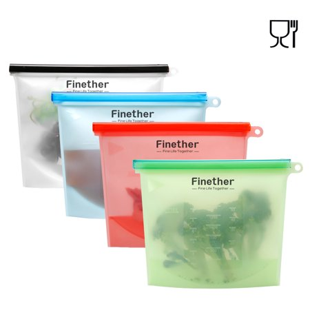 Finether 4 Pack Reusable Silicone Food Storage Bag With