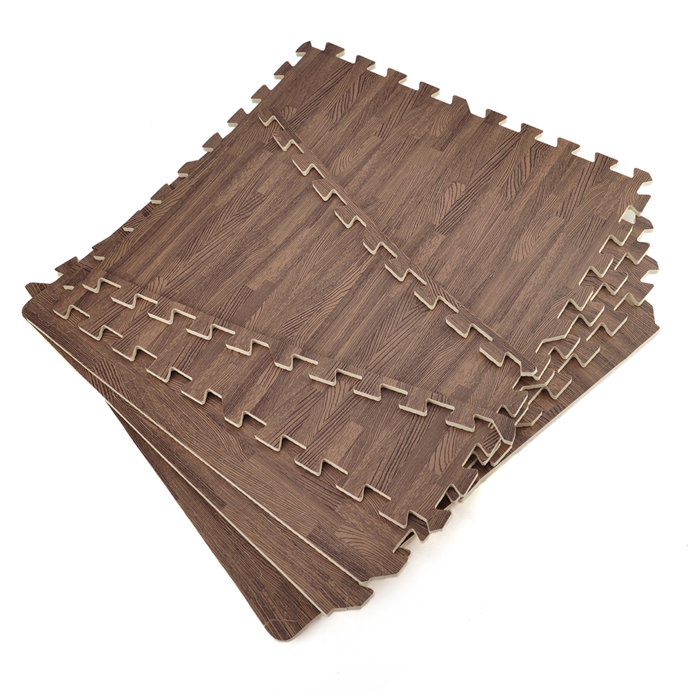 "Aspire 176 SQFT 44 Tiles 24"" EVA Foam Protective Floor Mats Borders Included Wood Grain Exercise Mat"