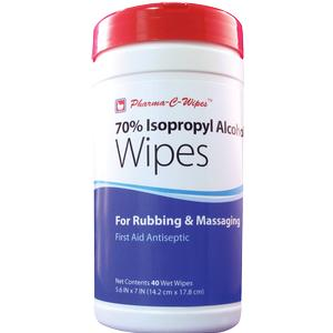 Pharma-C-Wipes Pre-Moistened Wipes 70% Isopropyl Alcohol, 40 Wipes per Canister, Case of 6 Canisters