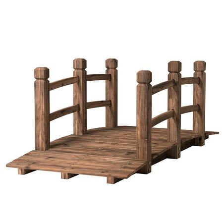 Garden Bridge Designs (Costway 5' Wooden Bridge Stained Finish Decorative Solid Wood Garden Pond Arch)