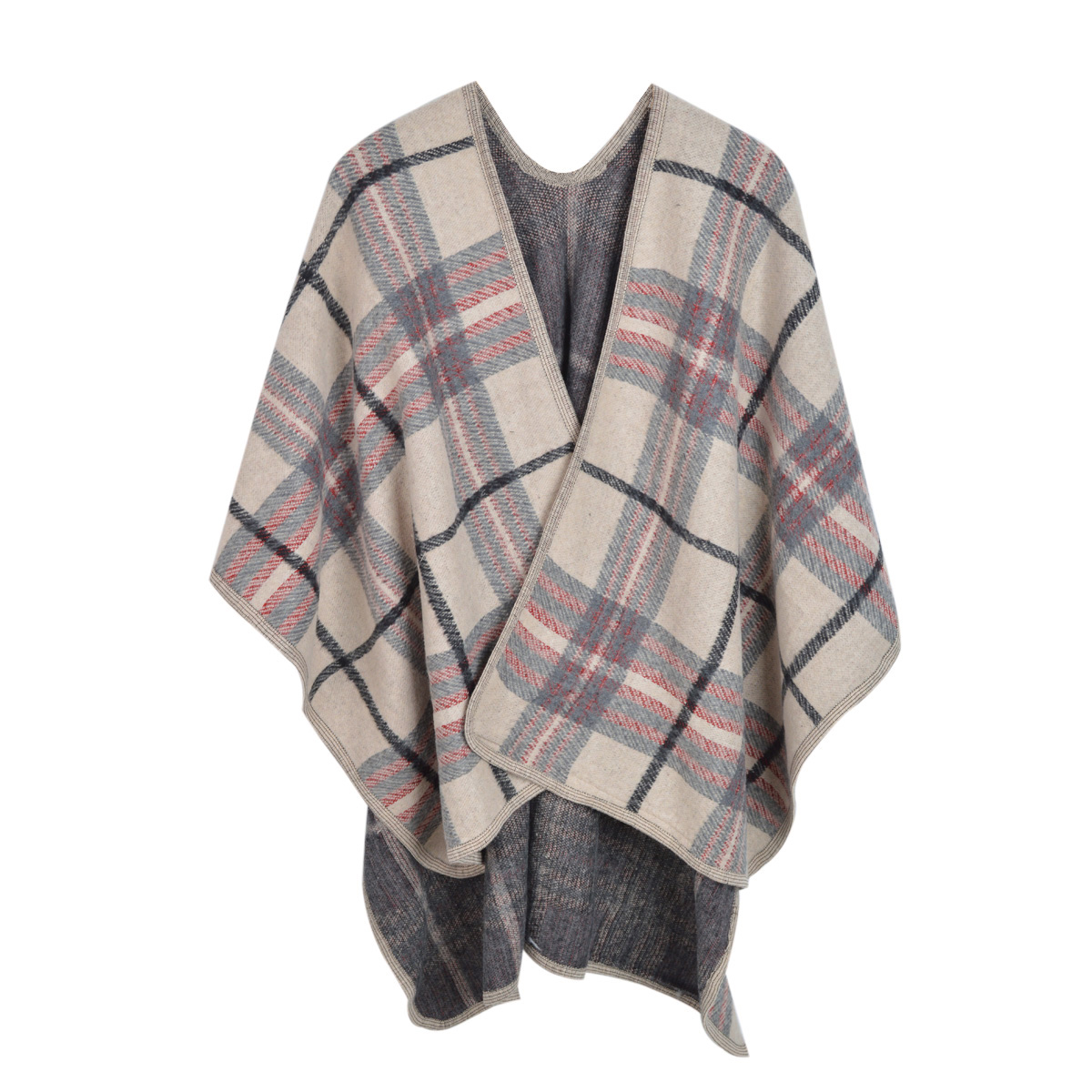 Premium Warm Winter Check Plaid Blanket Poncho Shawl Cape Wrap