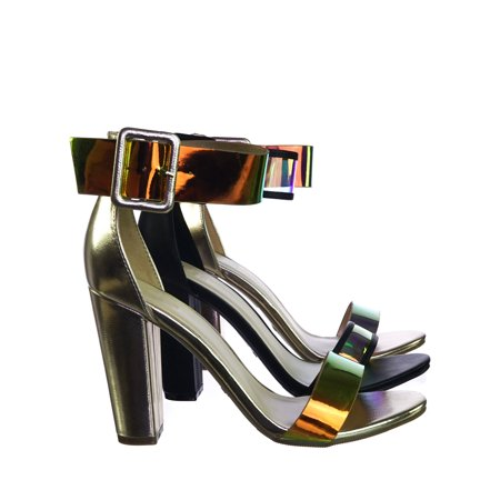 Frenzy94 by Bamboo, Holographic Iridescent Block High Heel Dress Sandal w Thick Ankle (Heels With Ankle Strap And Thick Heel)