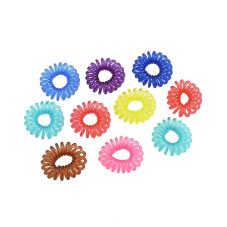 10 Pcs Elastic Spiral Plastic Hair Ties Bands Ponytail Braid Holder  Multicolor Ring - Walmart.com 1ea26516121
