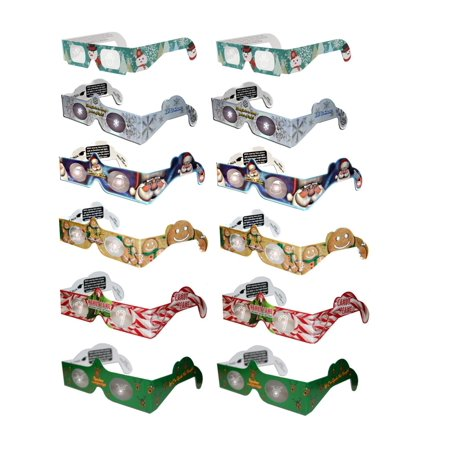 Holiday Specs 3D GLASSES- Look through Glasses & see Smiley Faces, Snowmen, Snowflakes, Santa and Other Holiday (Glasses Specs)