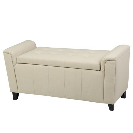 Noble House Aiden Armed Beige Fabric Storage Bench Ottoman