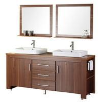 "Design Element Washington 72"" Double Sink Bathroom Vanity Set in Toffee"