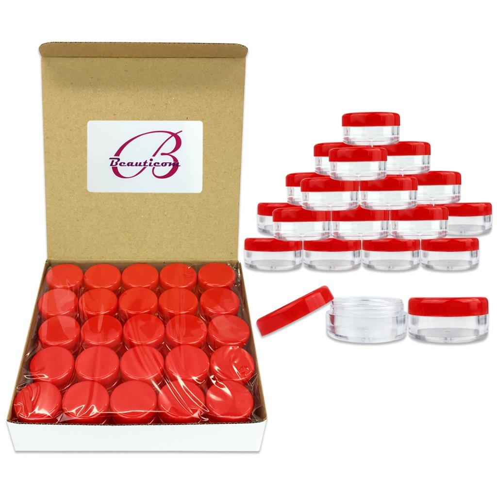 Beauticom 50 Pieces High Quality 5 Gram 5 ml (0.17 oz) Acrylic Round Cosmetic Beauty Makeup Sample Jars with Red Lids