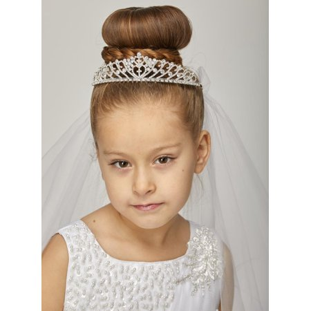 White Bow Pearl Glitter Rhinestone Crown Flower Girl Communion - Veil Communion
