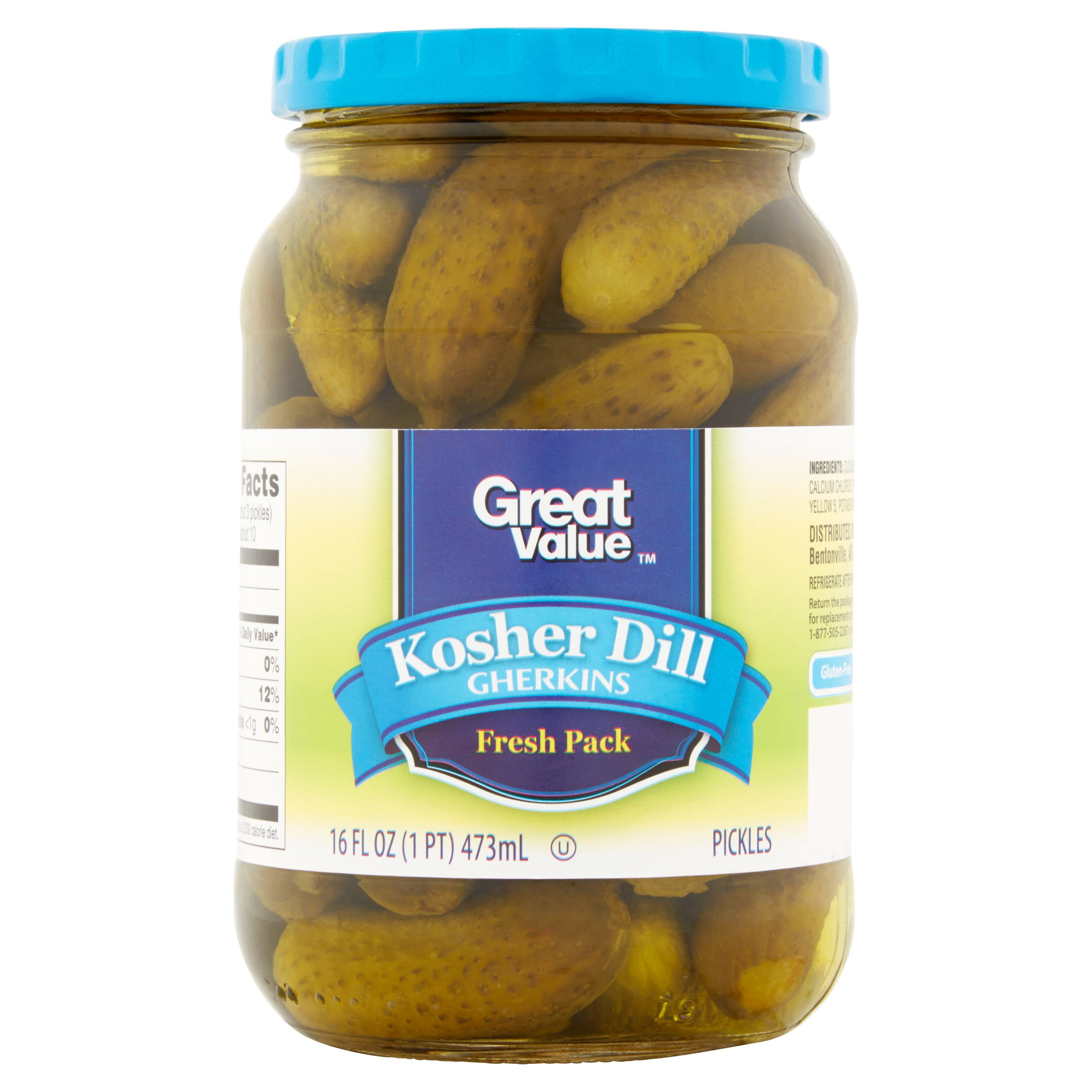 Great Value Kosher Dill Gherkins Pickles Fresh Pack 16 fl oz by Wal-Mart Stores, Inc.