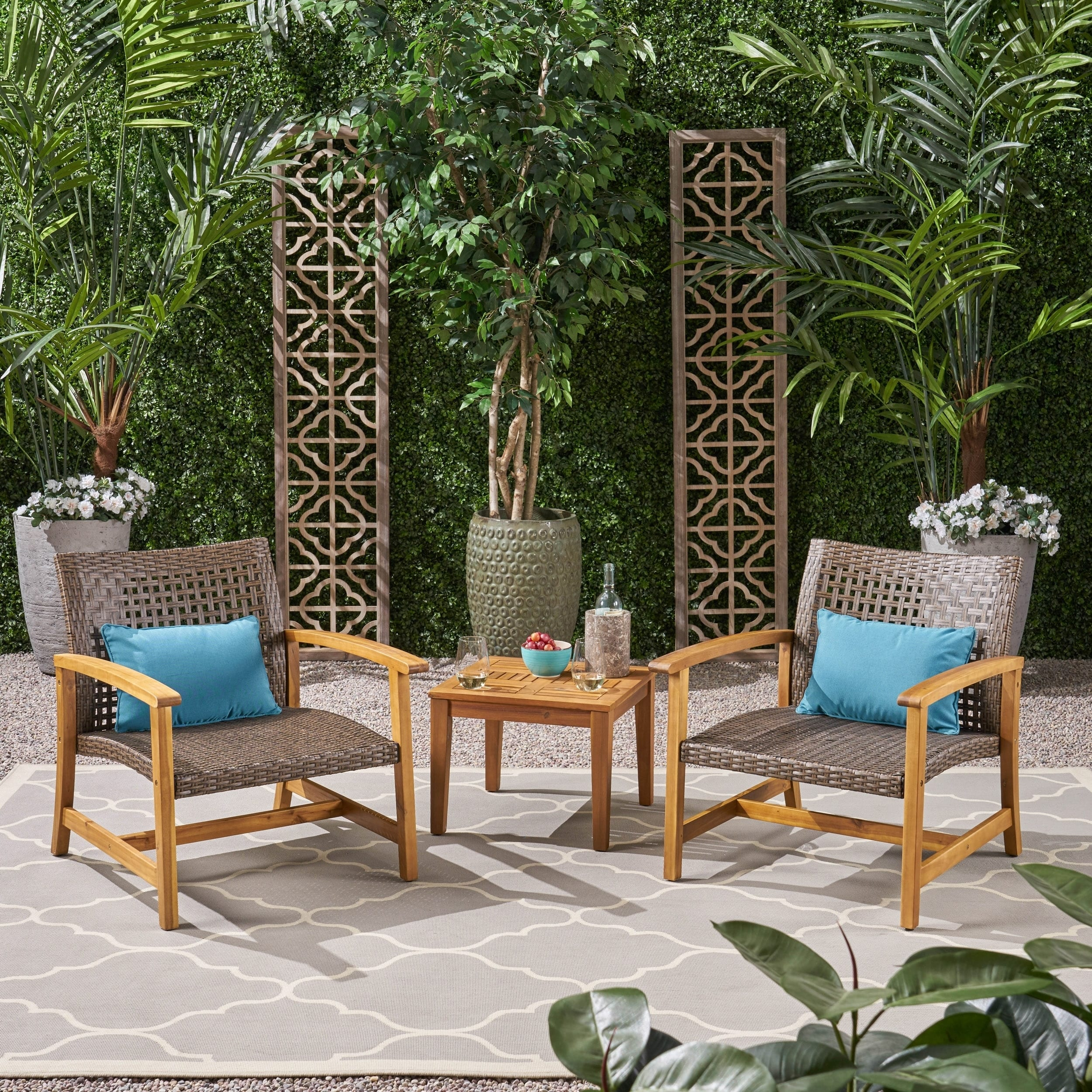 Christopher Knight Home Hampton Outdoor 3 Piece Wood and Wicker Club Chairs and Side Table Set by
