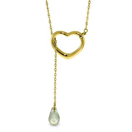 ALARRI 14K Solid Gold Heart Necklace w/ Drop Briolette Natural Green Amethyst with 20 Inch Chain
