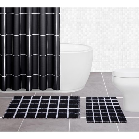 Sparrowhawk Brandon 100 Cotton Reversible 2 Piece Black White Bath Rug Set 17 X 24 20 30 Com