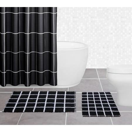 Sparrowhawk Brandon 100 Cotton Reversible 2 Piece Black White Bath Rug Set