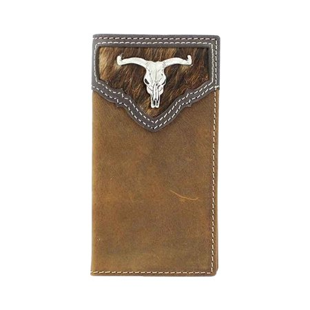 Boy Rodeo Wallet (Nocona Boy's Calf Hair Rodeo Steer Head Concho Wallet Medium Brown Distressed OS )