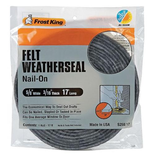 FROST KING S258/17H Weatherseal,17 ft.,Gray,Felt