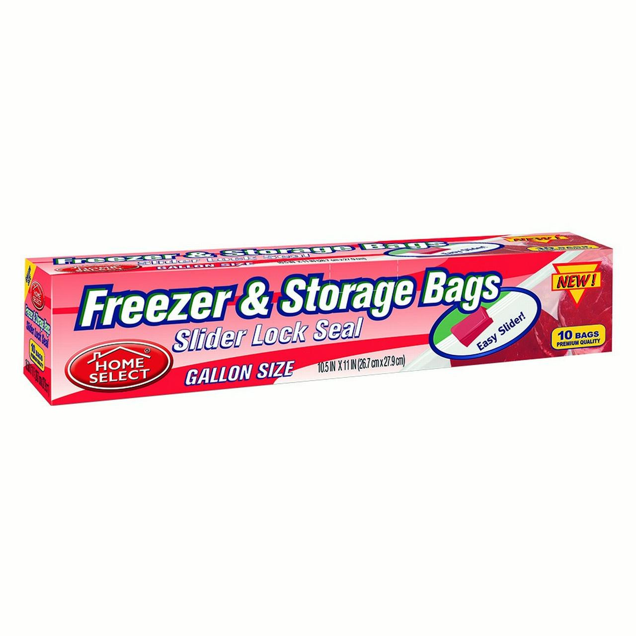 Home Select Freezer & Storage Bags, Slider Lock Seal, Gallon Size, 10 Ct