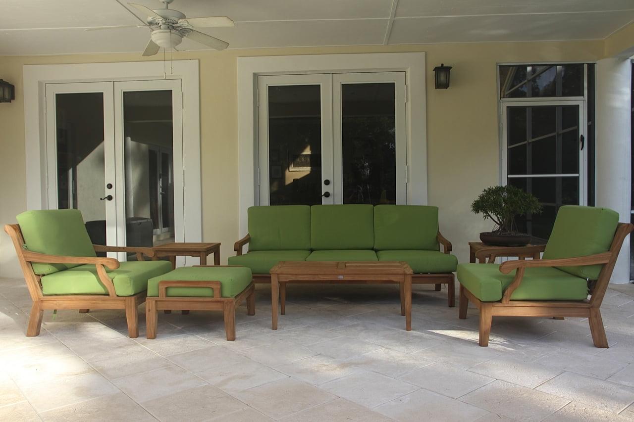 WholesaleTeak Outdoor Patio Grade-A Teak Wood 7 Piece Teak Sofa Set Sofa, 2 Lounge Chairs, Ottoman, 2 Side... by WholesaleTeak