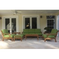 WholesaleTeak Outdoor Patio Grade-A Teak Wood 7 Piece Teak Sofa Set - Sofa, 2 Lounge Chairs, Ottoman, 2 Side Tables & Rectangle Coffee Table -Furniture only --Sack Collection #WMSSSK9