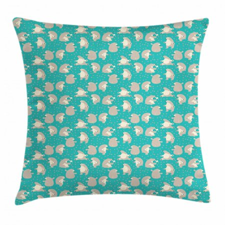 Bear Throw Pillow Cushion Cover, Dancing Funny Animals with Bees Eating Honey in Scandinavian Modern Style, Decorative Square Accent Pillow Case, 16 X 16 Inches, Turquoise Tan Beige, by -