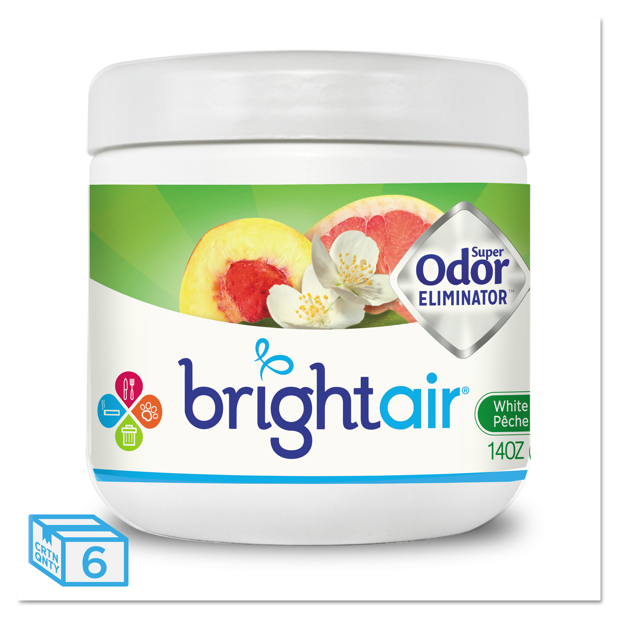 BRIGHT Air Super Odor Eliminator, White Peach and Citrus, 14oz,