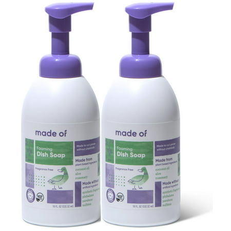 - (2 Pack) MADE OF Foaming Organic Baby Dish and Bottle Soap - Organic Castile Soap All Purpose, Fragrance Free, 18 oz