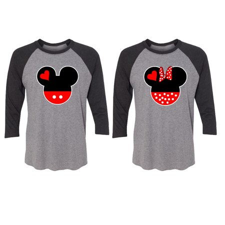 Cartoon Heads Couple Matching 3/4 Raglan Tee Valentines Anniversary Christmas Gift Men Small Women Small for $<!---->
