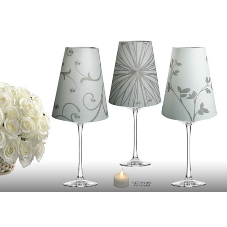 Royal Designs Flower Silhouette Vellum Paper Wine Glass Tea Light Lampshade- Party Centerpiece - Set of 6 - - Wine Glass Centerpieces