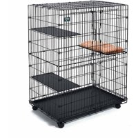Midwest, 4-Tier & 1-Pillow, Collapsible Pet Playpen, Cat Cage, Black, 51-in