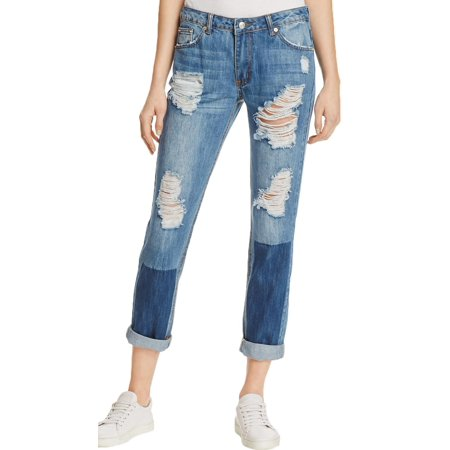 Sunset & Spring Womens Destroyed Patched Boyfriend Jeans - Firefly Denim