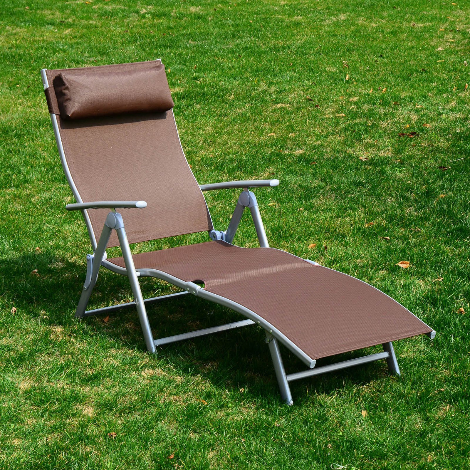 Outsunny Reclining Patio Chaise Lounge with Cushion by Aosom