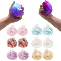 Barry-Owen, 12 Pack, Light Up Mesh Squish Balls Squeeze For Stress Relief Toy Glitter Crystal Ball