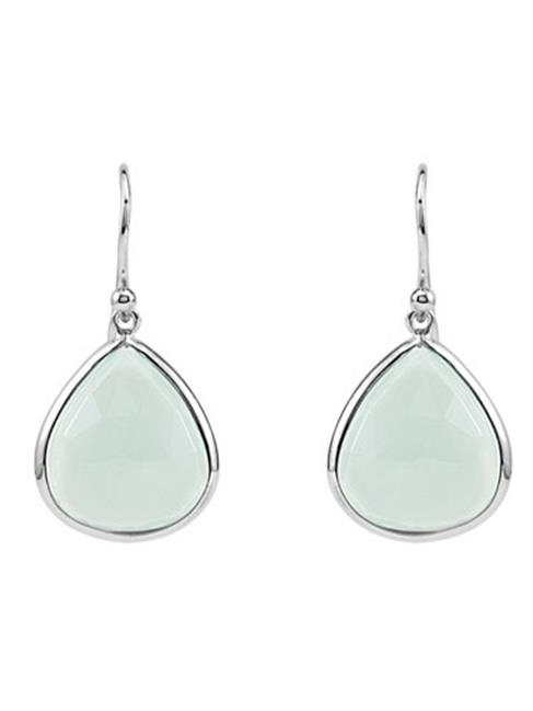 Fine Jewelry Vault UBERS69644AGCAQ 925 Sterling Silver Fashion Aqua Chalcedony Earrings 16 x 14 mm. by Fine Jewelry Vault