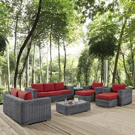 Brayden Studio Alaia 9 Piece Rattan Sunbrella Sofa Seating Group with Cushions