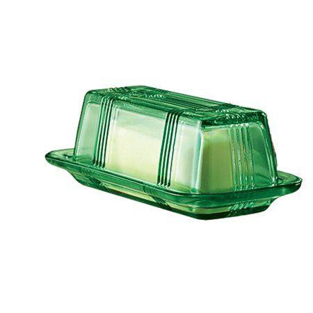 Depression Style Glass Butter Dish, Classic Green Depression Glass Butter Dish