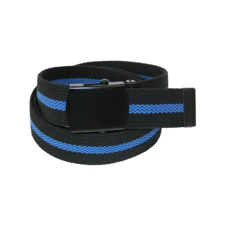 Size one size Men's Big & Tall Adjustable Police Belt with Blue Center Line, Black with Blue Stripe ()