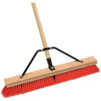 "Laitner Brush Company 24"" Assembled Stiff Bristle Push Broom with 60"" Handle"