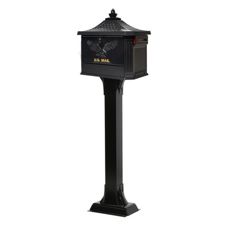 Gibraltar Mailboxes Hemingway Locking Large Capacity Cast Aluminum Black All-in-One Mailbox and Post Combo, HEK00B01