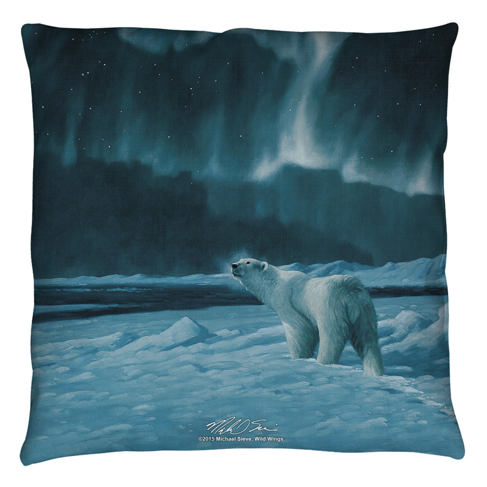Wild Wings Polar Night Light 2 Throw Pillow White 18X18