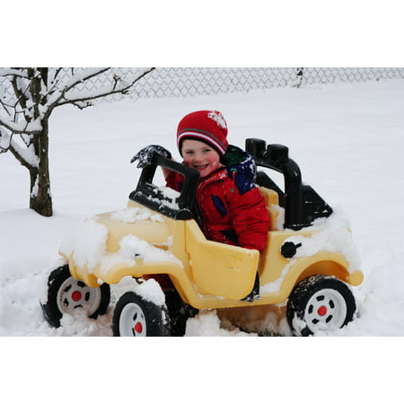 Canvas Print Smile Stuck Snow Child Car Road Cold Winter Stretched Canvas  10 x 14