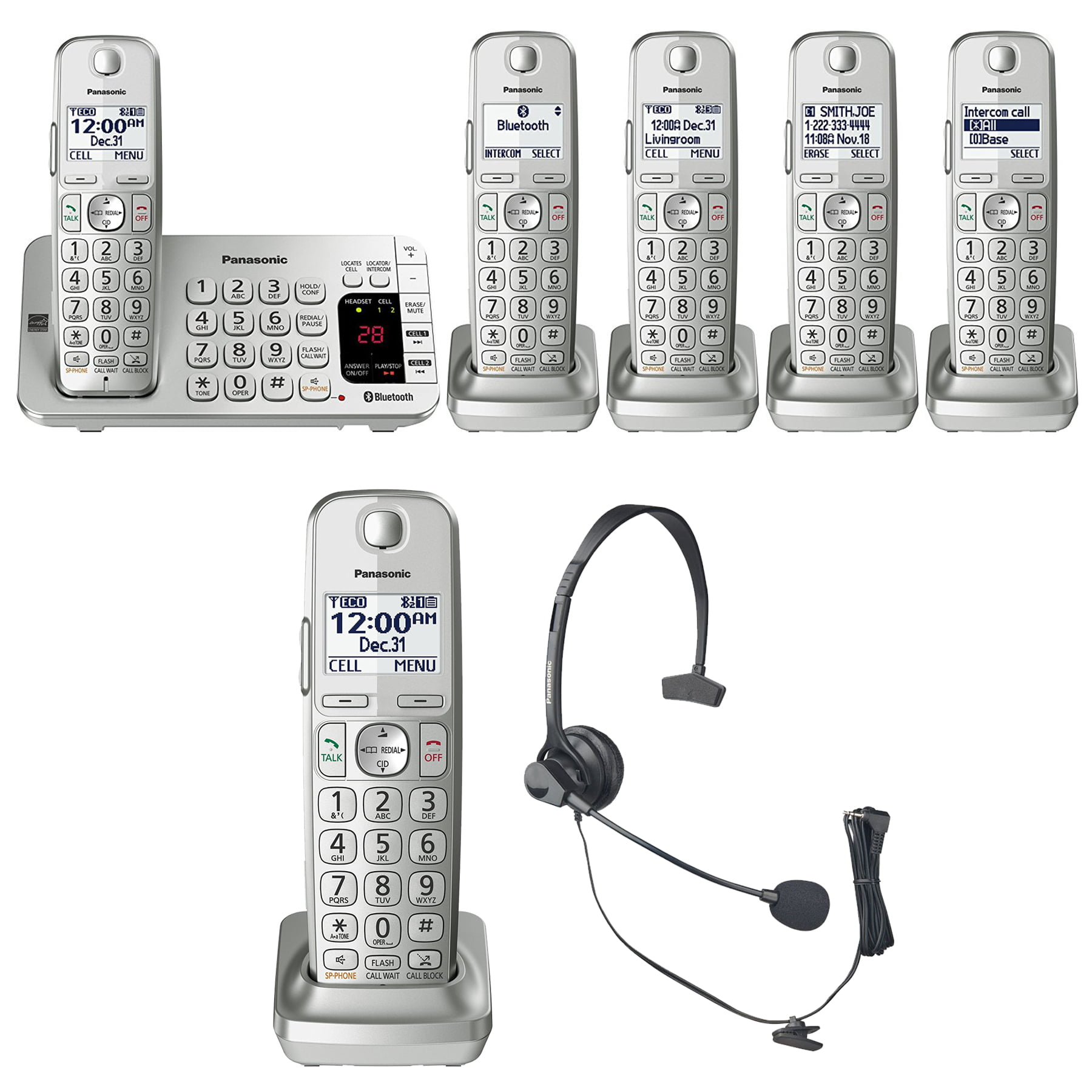 Panasonic KX-TGE475S Link2Cell Bluetooth Phone Answering Machine-5 Handsets by Overstock