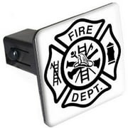 "Iron Cross Fire Department 1.25"" Tow Trailer Hitch Cover Plug Insert"
