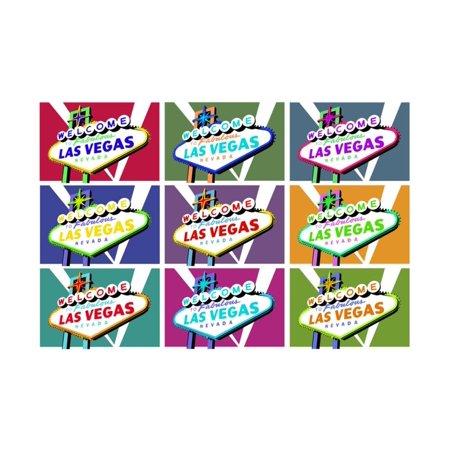 Art Welcome Sign - Las Vegas, Nevada - Welcome Sign Pop Art   By Lantern Press